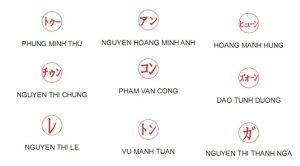 Khắc dấu tên tiếng Nhật tại An Khánh